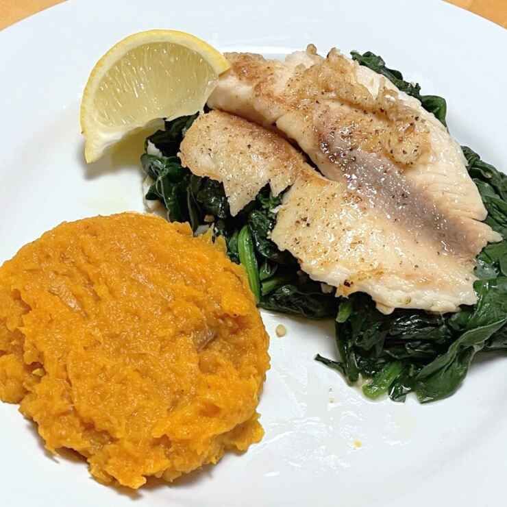 Grilled Tilapia with Spinach and mashed Butternut Squash